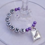 Shopping Bag Personalised Wine Glass Charm